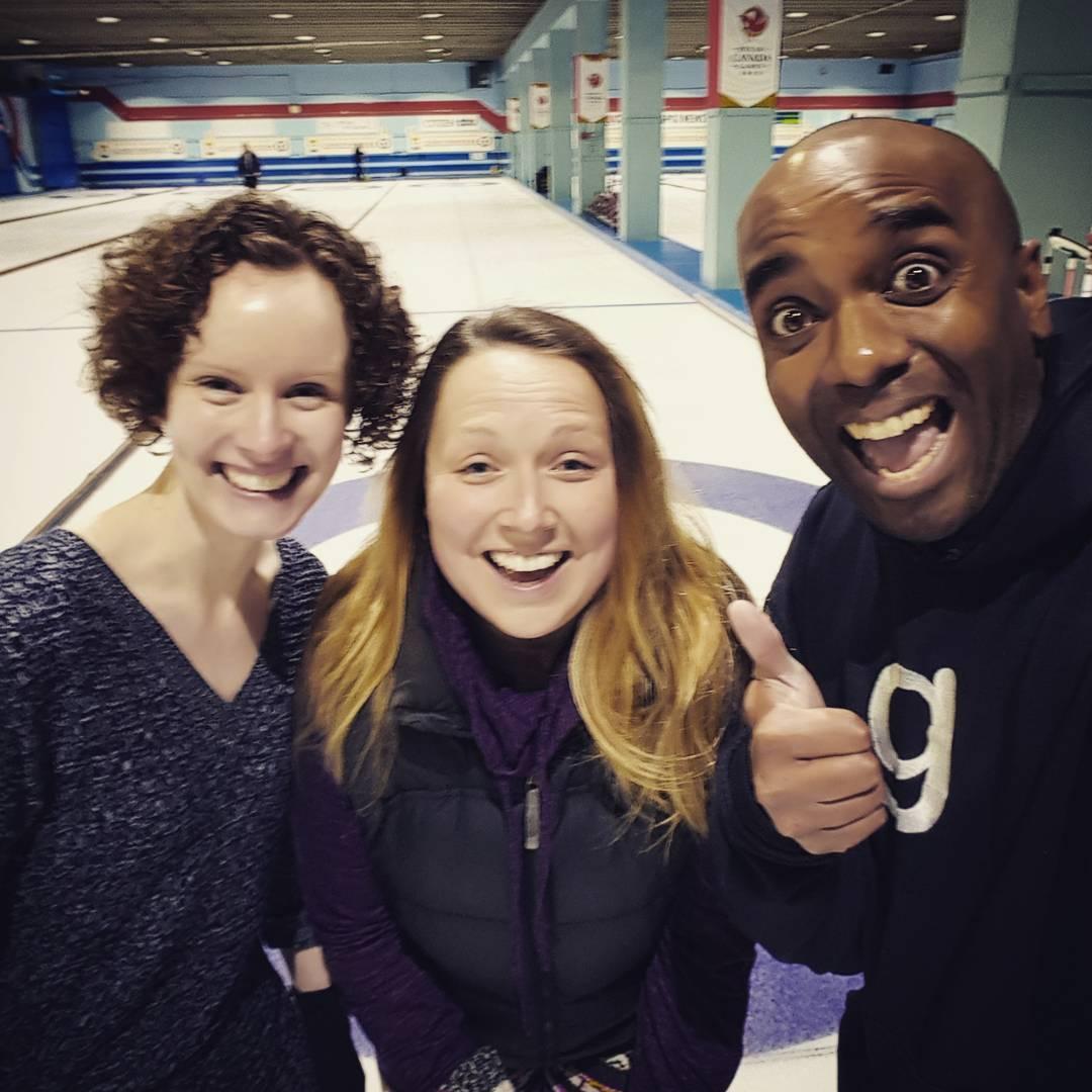 First time curling selfie!  Curlelfie! #selfiegram #ilost #14to3