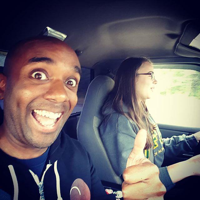 Kyla driving selfie!  Kydrelfie! #selfiegram #newdriver #alittlescary #didntdie